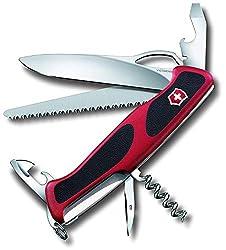 Victorinox Taschenmesser Ranger Grip 79 (12 Funktionen, Einhand-Feststellklinge) rot/schwarz