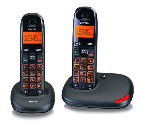 Switel DC5002 VITA duo Seniorentelefon, zweier SET schnurlose DECT-Telefone, große Tasten und Display beleuchtet, Hörgerätekompatibel Großes Display