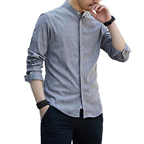 CuteRose Mens Western Shirt Pure Colour Fit Long Sleeve Juniors' T-Shirt AS6 2XL