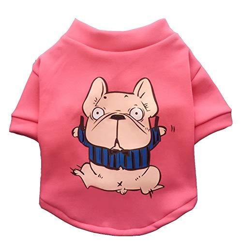 Kostüm Anime Muster - Hundebekleidung Hundebekleidung Junge Hundekleidung Mädchen Hunde Pullover Hundehemd Pink Plus Samt Anime Muster Katze Hund Kostüm FENGMING (Farbe : Pink, größe : L)