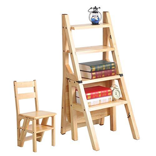 JIAJUAN Schemel Faltbar Treppenhocker Hölzern Leiter Rückenlehne Stuhl Multi- Funktion Gestell Blume Stand Treppe Schemel Sitze Dual-verwenden, 4 Schritt, 3 Farben Trittleiter (Leiter Multi-funktion)