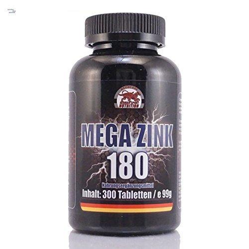 Zink-180 Tabletten (Zink Tabletten - Mega Zink 180, 300 Tabletten, Zinc gluconat Tablette)