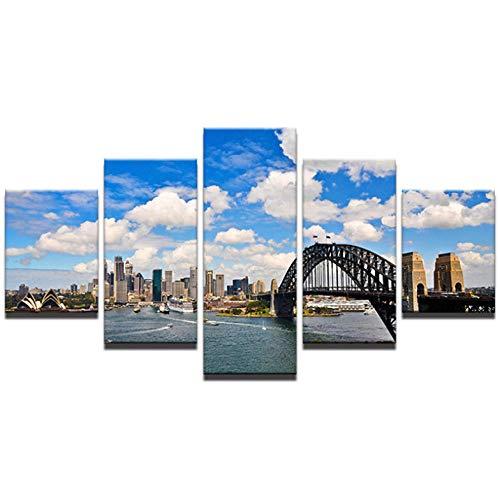 JIWAWAR Modulare Leinwand Gemälde Wandkunst Wohnkultur 5 Stücke Sydney Harbour Bridge Landschaft Bilder Für Wohnzimmer HD Drucke Poster-30CMx40/60/80CM (Sydney Harbour Bridge Poster)