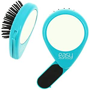 -Kit Sac à Main Voyage Brosse a cheveux 3en1 Lime à Ongles et Miroir Sac Bleu