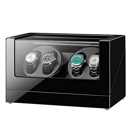 Sepano Doppel-Automatischer Uhrenbeweger für 4 Uhren, extrem leiser Mabuchi-Motor für Rolex, mit weichem, flexiblem Uhrenkissen