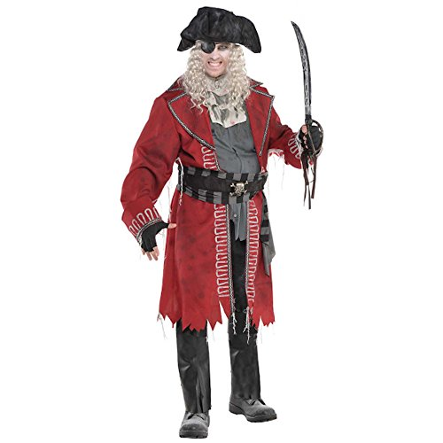 shoperama Zombie Pirate Captain Herren Kostüm Halloween Horror Geisterpirat Geist Pirat, ()