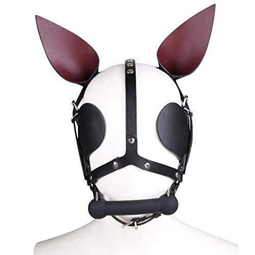 YA Ohr mit Mund Plug Maske Frau Maskerade Kopf Bondage Phantasie Party Cosplay Bondage Maske Leder Kapuze Partei liefert Spaß ()