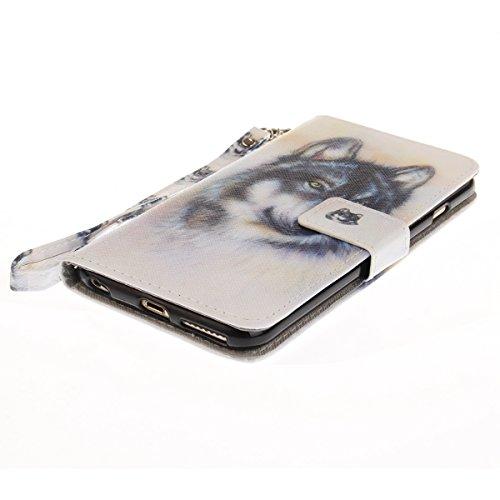 EUWLY Fashion Colorato Dipinto Protettiva Portafoglio Custodia in PU Pelle per iPhone 6 Plus/iPhone 6s Plus (5.5),Bello Animale Lanyard Wallet Case con Magnetica Chiusura Flip Funzione in PU Leather  Lupo