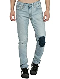 Estrolo Front Back Ripped And Pin Tucked Men's Jeans