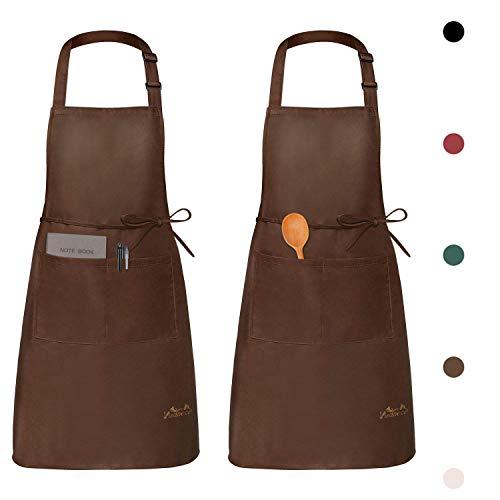 Viedouce 2 Piezas Delantales Impermeables Ajustables del Cocinero con Bolsillo Cocina Delantale de Cocina para Mujeres Hombres,Delantal Chefs Cocina para Cocinar/Hornear (Marrón)