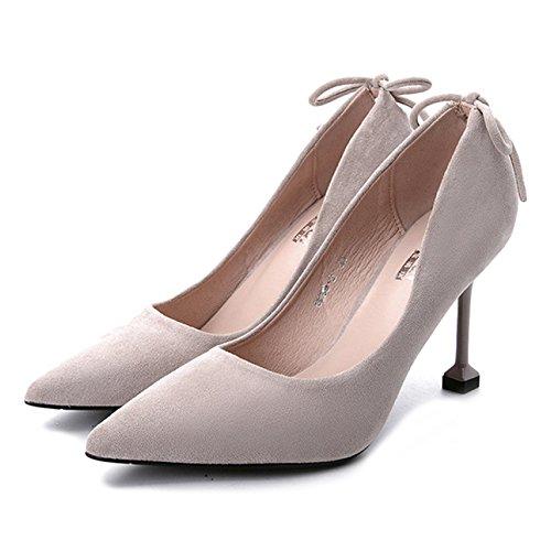 cy Frauen Schuhe Sommer Geschlossene Zehe Licht Mode Bow Stiletto High Heels Kleid Pumpen Für Damen Arbeit Formal,Grey-EU:35/UK:3 -