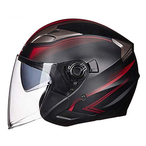 Qianliuk Man Woman Open Face MotorradHelme halb Gesicht MotorradHelm Doppel-Objektiv Moto Racing Chopper Helme Deluxe Womens Helm