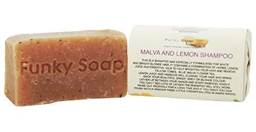 Funky Soap Malva und Zitronen Festes Shampoo 100% Natürlich Handgemacht, 1 Stück 65g - Kräuter-zitronengras Shampoo