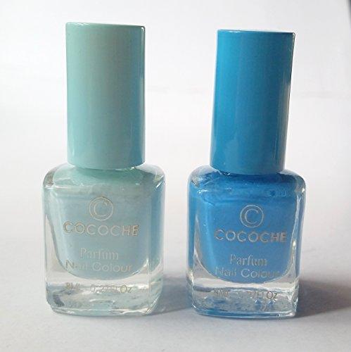 NEW Nail Art cocoche Parfum Coffret de vernis à ongles 2 pièces en bleu clair/bleu Parfum Vanilla/Nail Colour Arôme de vanille
