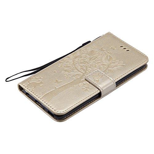Hülle für Huawei P10 Plus, Tasche für Huawei P10 Plus, Case Cover für Huawei P10 Plus, ISAKEN Blume Schmetterling Muster Folio PU Leder Flip Cover Brieftasche Geldbörse Wallet Case Ledertasche Handyhü Baum Katze Gold