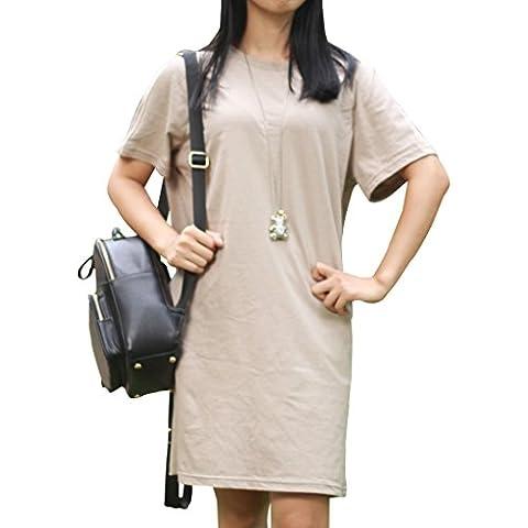Musclealive Donne Manica corta Nuovo vestito casuale da estate camicia di lino e cotone