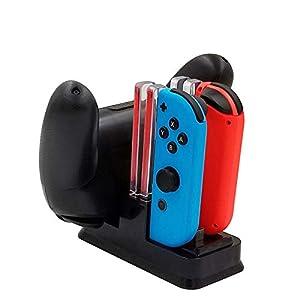 booEy 6in1 Ladestation für Nintendo Switch Joy Con und Pro Controller | USB C | LED Ladeanzeige