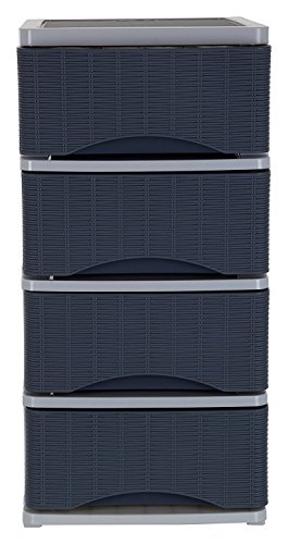 Nayasa Plastic Tuckins, 4 Drawers, Cane Grey