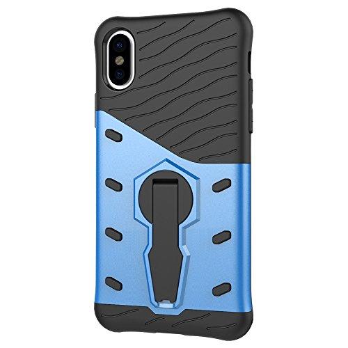 JIALUN-Telefon Fall Abdeckungs-Fall mit 360 ° Rotations-Standplatz-Abdeckung Voller Körper-weicher Silikon-schützender shockproof rückseitige Abdeckung für iPhone 8 ( Color : Blue ) Blue