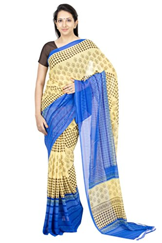 The Chennai Silks - American Georgette Saree With Contrast Border - Beige - (CCPSY90)  available at amazon for Rs.400