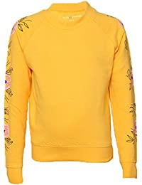 Tales & Stories Girls Yellow Round Neck Sweatshirt