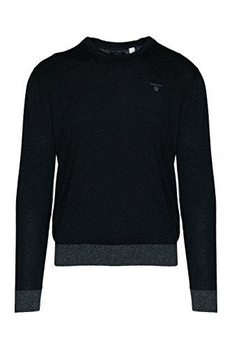 Gant 8000012-97 O1 Yak Blend Crew-neck Pullover Uomo dark-grey-melange In 80 wool 20 Con Contrasti E Toppe Dark Grey Melange