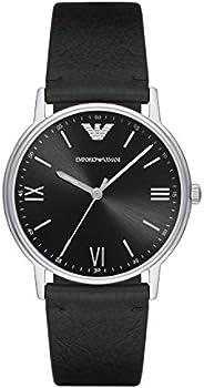 Emporio Armani Men's Kappa Stainless Steel Analog-Quartz Watch with Leather Calfskin S