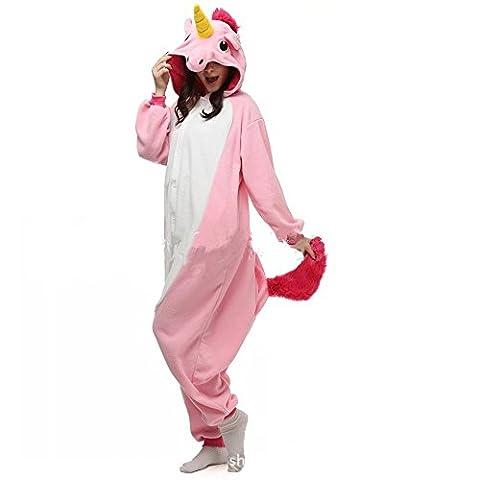 Misslight Einhorn Pyjama Damen Jumpsuits Tieroutfit Tierkostüme Schlafanzug Tier Sleepsuit mit Einhorn Kostüme festival tauglich Erwachsene (L, (Rosa Einhorn-kostüm)