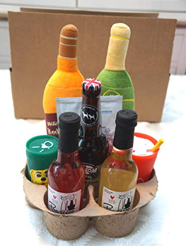 ULTIMATE LUXURY DOG GIFT PAMPER HAMPER DRUNK DOG GIFT SET WITH PAWSECCO DOG WINE DOG BEER DOG TEA AND DOG TOY DRINKS - GIFT WRAPPED - ONE OFF ONLY ONE AVAILABLE