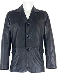 UNICORN Hommes Réel en cuir Veste Classique Blazer Noir #B5