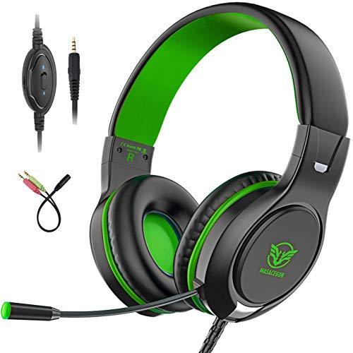 Preisvergleich Produktbild Bovon Gaming Headset für PS4,  Bass Surround-Kopfhörer Over Ear Noise Cancelling,  3.5mm PC Game Headset mit Mikrofon für Xbox One,  PC,  Mac,  Laptop,  Smartphones,  Tablet,  Nintendo Switch Spiele (Grün)