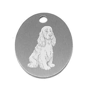 Médaille en acier inox pour chien Cocker + gravure personnalisée