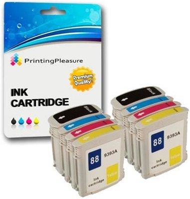 8 Compatibles HP 88XL Cartouches d'encre Remplacement avec Puce pour HP Officejet Pro K550 K550dtn K550dtwn K5300 K5400 K5400dn K5400dtn K5400n K8600 K8600dn L7000 L7400 L7480 L7500 L7550 L7580 L7588 L7590 L7600 L7650 L7680 L7681 L7700 L7710 L7750 L7750 L7780 L7880 - Noir/Cyan/Magenta/Jaune, Grande Capacité