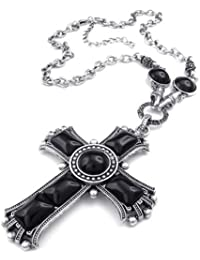 KONOV Schmuck Herren Damen Halskette, groß Retro Keltischer Kreuz Legierung Anhänger mit Kette, Schwarz Silber