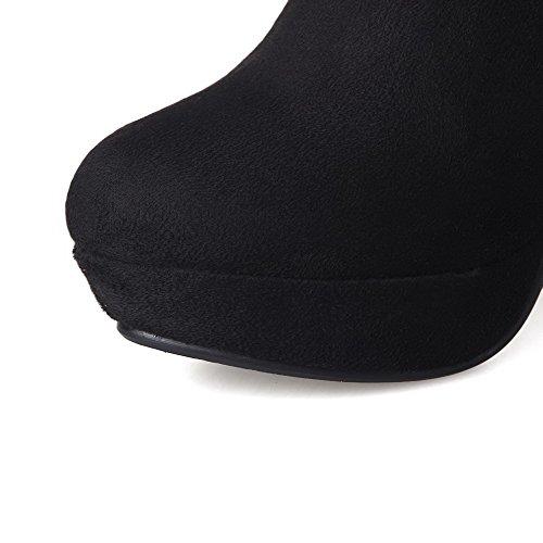 VogueZone009 Damen Hoher Absatz Hoch-Spitze Eingelegt Reißverschluss Stiefel mit Rivet Set Schwarz