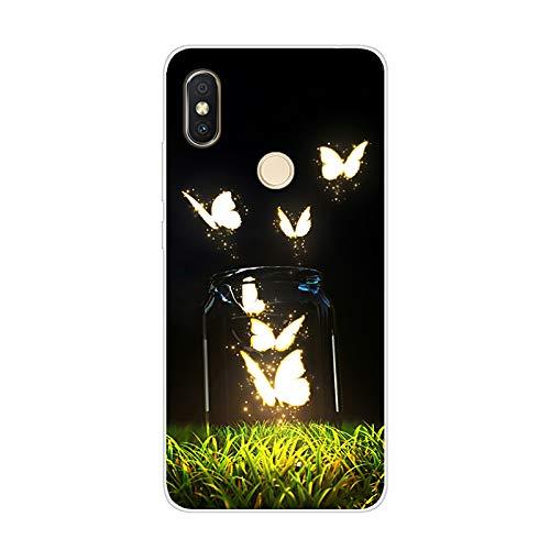 Aksuo Funda For Xiaomi Redmi S2 , TPU Anti-Rasguño Anti-Golpes Cover Protectora Transparente Claro TPU Caso Bumper Slim Silicona Case - Botella de Disco Fluorescente