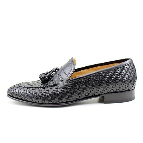 GIORGIO REA Chaussures Homme Noir Mocassins Mâle Main Italiennes, Cuir, Élégant, Classique, Oxford Classic Shoes
