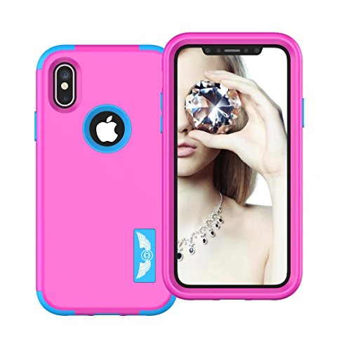 iPhone X Coque, Lantier 3in1 Anti Slip Scratch Dual Layer Heavy Duty Angel Wings Hybrid Armor Hard Soft Rubber Full Body Protective Durable Shockproof Case Cover pour Apple iPhone X Rose