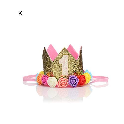 Sayner Party Decoration 1st Birthday Gifts Boy Girl Birthday Hat Princess Crown Flower Headband Hair Band(K,K) (Party-girl Hats)