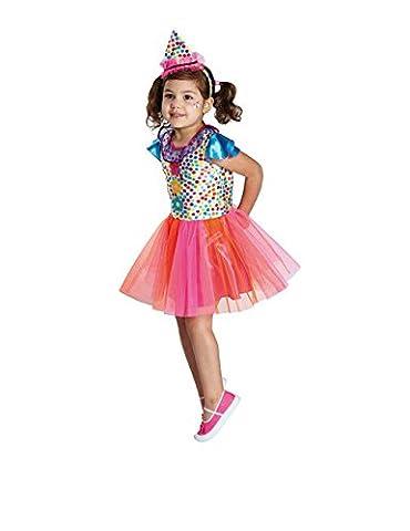 Clown Mädchen Kinderkostüm pink-orange-blau 164 (12-14 Jahre)
