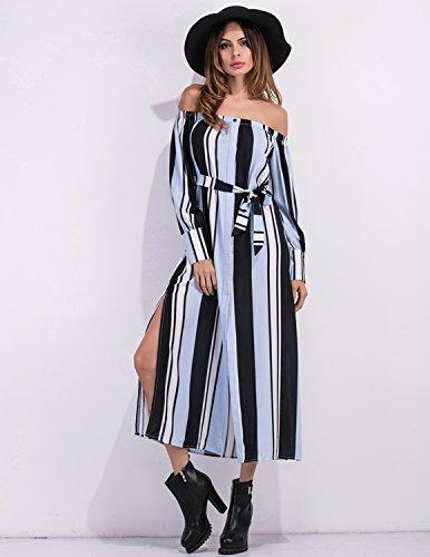 Modetrend Femmes Robe Manche Longue Col Bateau Bandeau Bustier Maxi Robe Longue D'été Vacances Robe de Plage Bleu