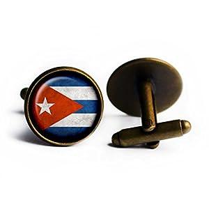Cuba Cuban Flag Kuba Kubanische Flagge Antike Bronze Manschettenknöpfe