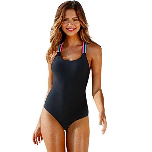 UFACE Räumungsverkauf Damen Bikini Einteiler Badeanzug Frauen Bademode One Piece Push-up Gepolsterte Bade Backless Beachwear (L, Schwarz)