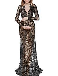 Kunliyin Vestido Maxi de la Maternidad del Vestido de Maternidad del cordón de la Manga Larga