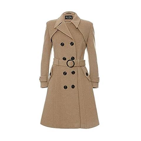 De La Creme - laine & Cachemire Long hiver manteau ceinturé - Camel - Femme -Taille 42