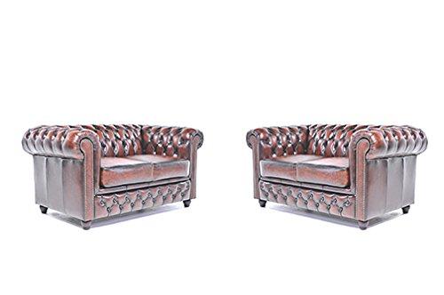 Original Chesterfield Sofas – 2 / 2 Sitzer – Vollständig Handgewaschenes Leder – Antik Braun