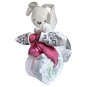 Windeltorte/Windelgeschenk/Windelmotorrad Mädchen Baby -> süßer HASE + BABY Socken + Wattestäbchen + Mulltuch - tolles WINDELGESCHENK zur Geburt -> babyshower geschenk (Motorrad rosa Gr. 3)