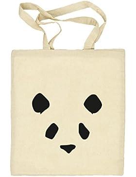 Bad Panda, Panda Face Gesicht Natur Stoffbeutel Jute Tasche (ONE SIZE)