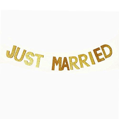 Gogogo Feier Banner Glitzer Pailletten Flagge Hochzeit Geburtstag Party Buchstaben Requisiten Fahne Deko JUST Married
