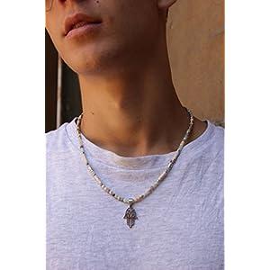 Halskette für Männer Geschenk für ihn Boho Halskette für Frauen Geschenk für sie Amazonit Halbedelstein Anhänger Fatima Bijou für Damen und Herren Unisex